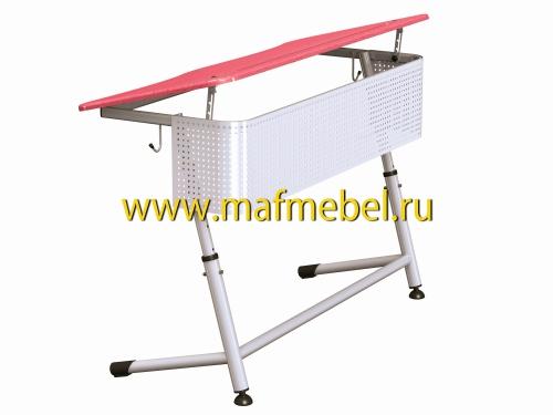 premera-2r-perfo-krasnaya-dvuhmestnaya-parta-s-perforirovannym-ekranom-i-uglom-naklona-stoleshnitsy